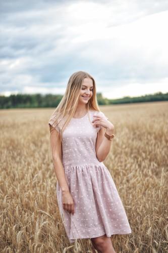"""Lininė suknelė """"Pelenų rožiniai žirniukai"""""""