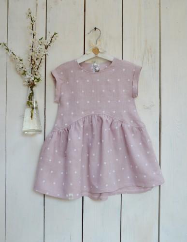 """Lininė vaikiška suknelė """"Pelenų rožiniai žirniukai"""""""